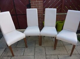 4 Dining Chairs Cream Faux Leather - Collect from Newcastle Upon Tyne NE15 area only