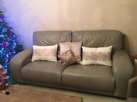 Beautiful taupe leather three seater