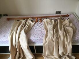 Cream curtains lined with pole - 160cm wide x 136cm drop