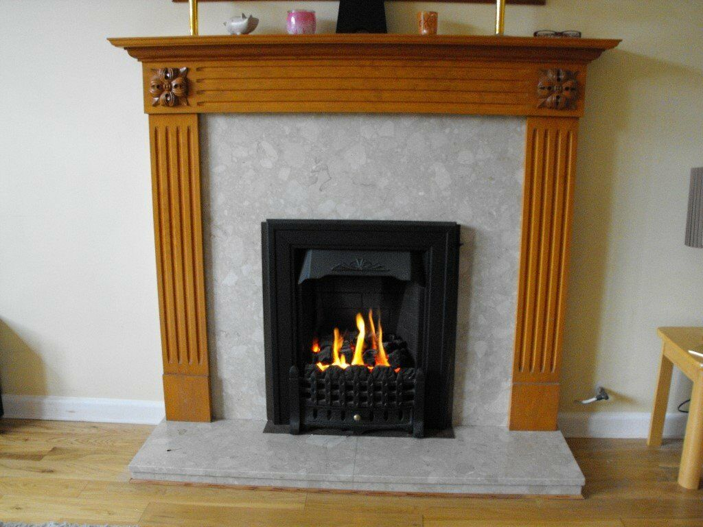 living flame coal gas fire with adams style surround in. Black Bedroom Furniture Sets. Home Design Ideas
