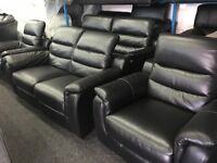 NEW/EX DISPLAY LazBoy Black Leather Manual Recliner 3 Seater + 1 Single Recliner Chair