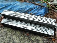 Storm drainage channels with galvanised grid x 3