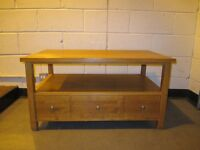 NEXT TEAK TWO TIER COFFEE TABLE WITH LARGE DRAWER FREE DELIVERY