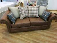 Stunning chesterfield seude effect 3 seater sofa with tartan scatterback cushion design