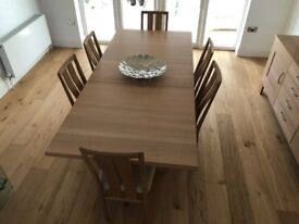 John Lewis, hard wood dining table, chairs and mirror set