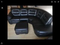 Leather sofa and foot stool. Mint condition