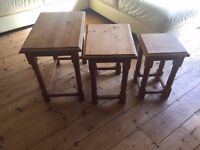 Set of three stacking end tables