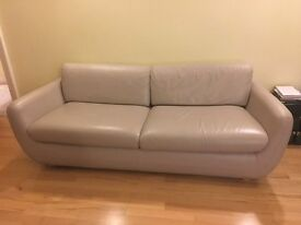 Habitat leather 3 seater sofa bed, leather arm chair and leather 3 seater sofa.