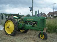 JOHN DEERE Model AN Single front wheel tractor.