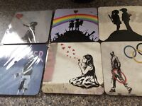 6 Authentic Banksy coasters,brand new,some still in packaging! Bought too many so selling 6! £6 !