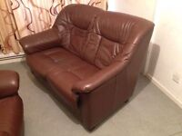 Leather 2 Seat Sofa in Good Condition Real Leather. Chocolate brown colour. 2 Seater Leather Sofa