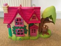 ELC Happyland Cherry Tree Cottage dolls house with furniture, figures and animals