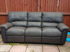 Brown 3 seater. Been outside for a month so will need cleaning.
