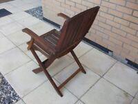 Heavy Hardwood Slatted Folding Chair