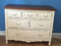 Two Laura Ashley cream distressed solid wood chest of drawers. Hardly used so in excellent condition