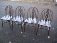 Great Set Of 4 Vintage Retro Elm Genuine Ercol Chairs