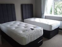 ** BRAND NEW ** ZIP AND LINK DIVAN SET (2 x 3' SINGLE BEDS OR 1 x 6' SUPER KING)