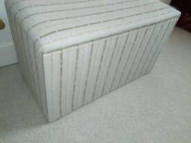 MEDIUM SIZED OTTOMAN, RE-UPHOLSTERED, IN LIGHT FABRIC