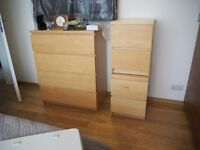 IKEA malm chest of drawers x 1 plus 2x bedside table