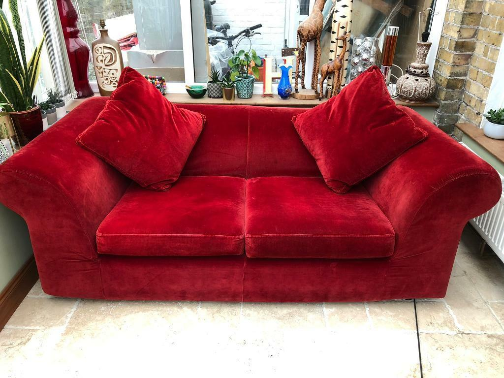 Habitat red velvet sofa bed with cushions | in Margate, Kent | Gumtree