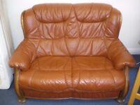 BROWN LEATHER 2-SEAT SOFA