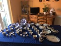 Blue and White Willow Patten Dinner and Tea Set