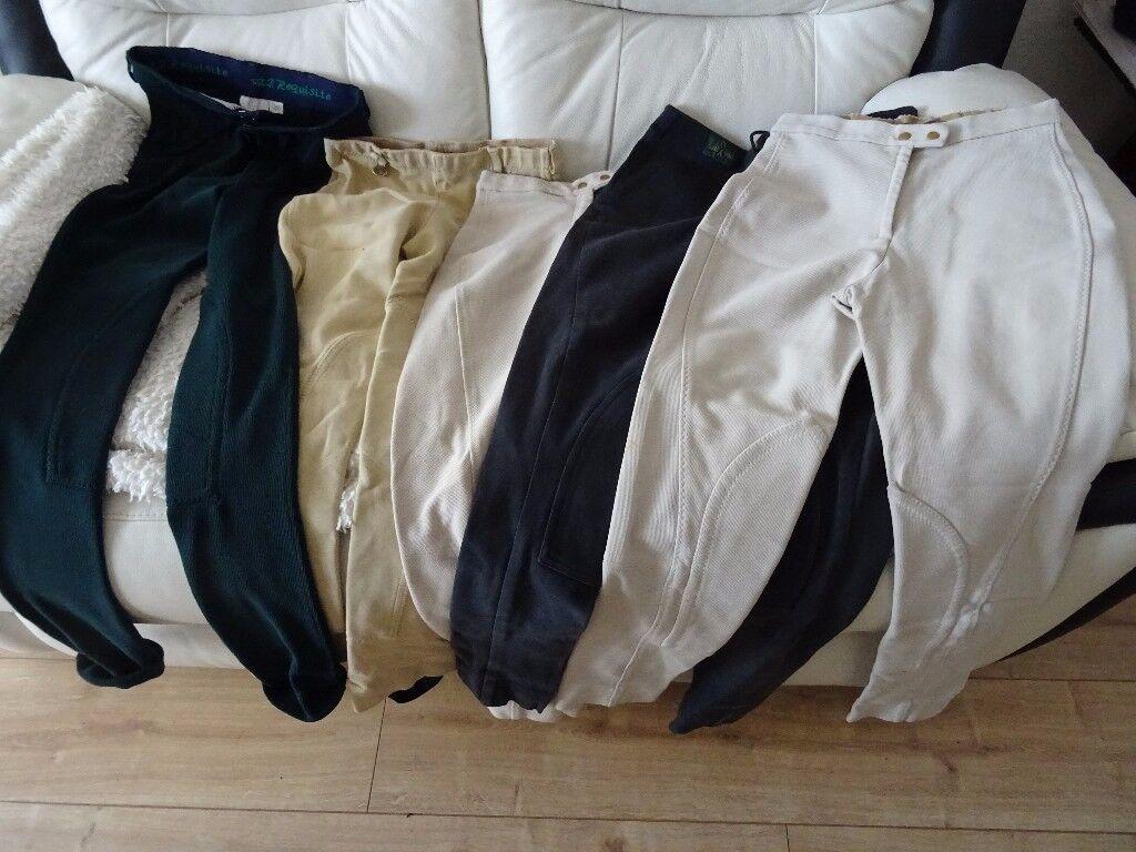 5 x pairs of jodhpurs 24 - 26 inch waist