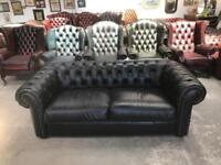 Stunning black leather chesterfield 2 seater sofa UK delivery