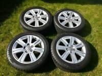 "Set 4x Genuine Audi A4 B8 17"" Alloy Wheels SLine 225 50 tyres 7 spoke rims 8K a6"