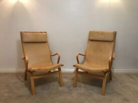 Danish vintage bentwood lounge leather chair