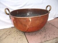 Large Heavy Antique Copper Fire Log Bowl. See ad for sizes. Weight approx 8.3kg