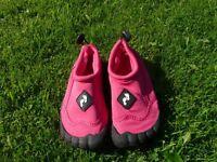 Girls Two Bare Feet Aqua Shoes