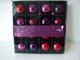Next purple/cerise Christmas baubles