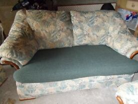 Sofa 2 seater, chair and footstool