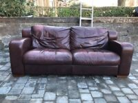 Large 3 seater leather sofa with arm chair and footstool