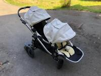 Baby Jogger double pushchair buggy, sheepskin liner, buggy board