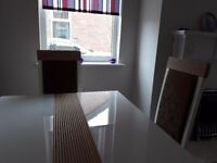 White gloss dining table and 4 matching chairs
