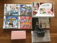 PINK NINTENDO DS LITE CONSOLE WOTH 4 GAMES VGC CAN POST