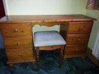 Solid Pine double pedestal Dressing table and stool - Chatham