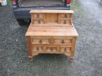 ORNATE CHUNKY RUSTIC SOLID PINE UNUSUAL CHEST OF DRAWERS. VERSATILE LOCATION USAGE. DELIVERY POSS
