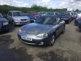 2002 MAZDA MX-5 CONVERTIBLE IN METALLIC GREY ALLOYS LEATHER SUPERB DRIVER BEST CONVERTIBLES MADE