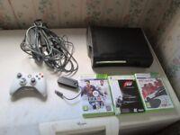 BOX 360 ELITE 120GB HDMI CONSOLE BUNDLE 3 GAMES,NETWORK ADAPTOR,CONTROLLER.