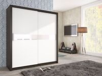 3 colors! Brand New TOP QUALITY 2 Sliding Door Wardrobe Storage White Black Oak With Glass