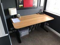 IKEA BEKANT Desk (Oak Veneer/Black) 160cm x 80cm - adjustable height