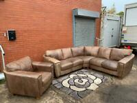 Pending delivery Beautiful REIDS furniture leather TAN Corner sofa & armchair delivery 🚚