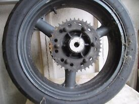 Kawasaki ZX6 back wheel complete with disk and caliper