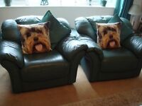 Pair of jade leather armchairs