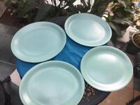Poole Pottery 4 large oval plates serving dinner pale green