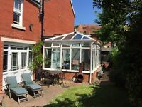 Conservatory 6.2m x 3.8m x 2.7m to eaves and 3.6m to ridge.