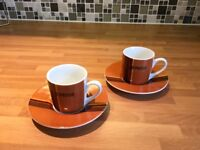 2 Espresso Cups and Saucers